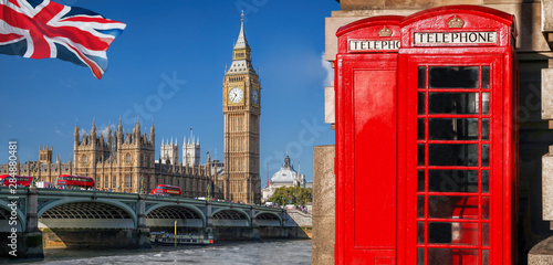 Fototapeta London symbols with BIG BEN, DOUBLE DECKER BUSES and Red Phone Booths in England, UK obraz