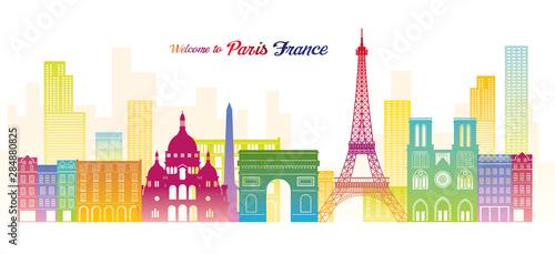 Paris, France Landmarks Skyline, Colourful Colour Canvas Print