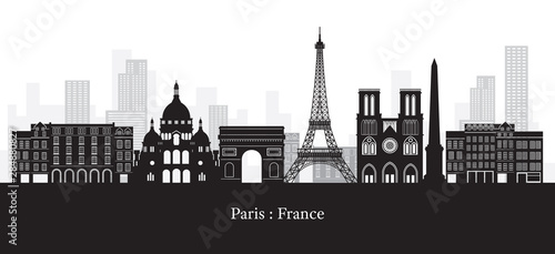 Paris, France Landmarks Skyline, Black and White Colour