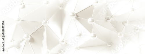 White background with crystals, triangles. 3d illustration, 3d rendering. - 284883230