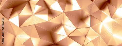 Fototapeta  Golden background with crystals, triangles