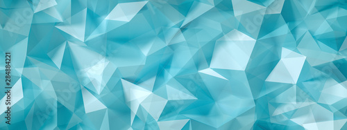 Blue, turquoise background with crystals, triangles. 3d illustration, 3d rendering.