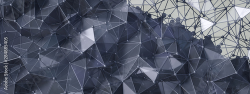 Black gray background with crystals, triangles. 3d illustration, 3d rendering. - 284885405