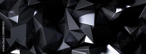 Black gray background with crystals, triangles. 3d illustration, 3d rendering. - 284885425