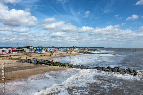 Photo Beach huts on Southwold beach in Suffolk England
