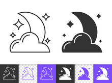 Moon Cloud Star Moonlight Black Line Vector Icon