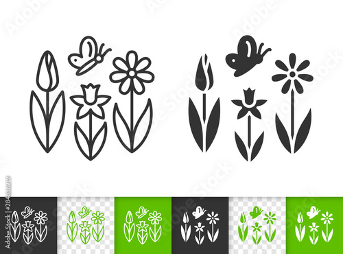 Fototapeta  Spring Flower butterfly simple line vector icon