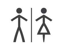 Simple Grey And White Wc Symbols, Man And Woman Icons Isolated On A White Background , Restroom Illustrations