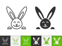 Easter Bunny Rabbit Simple Black Line Vector Icon