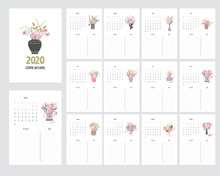 Hand Draw Calendar 2020 And Pl...