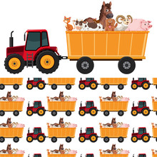 Seamless Background Design With Animals On Tractor