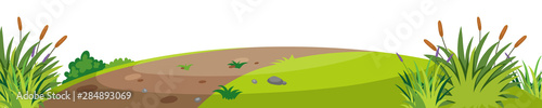 Poster Lime green Landscape background with trail on small hill