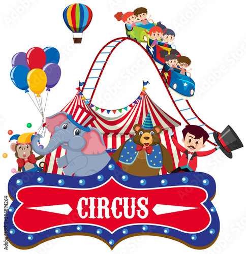 Photo  Sticker template for circus with ring master and animals