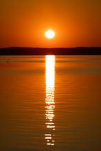 Sunrise Above Horizon Forest At Lake