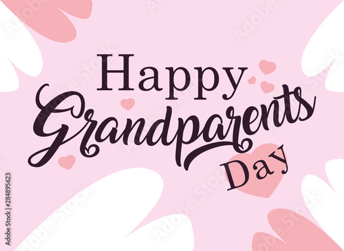 Valokuvatapetti happy grandparents day poster with pattern of hearts