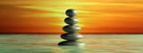 Fototapeta Kamienie - Zen stones row from large to small  in water with blue sky. 3d illustration