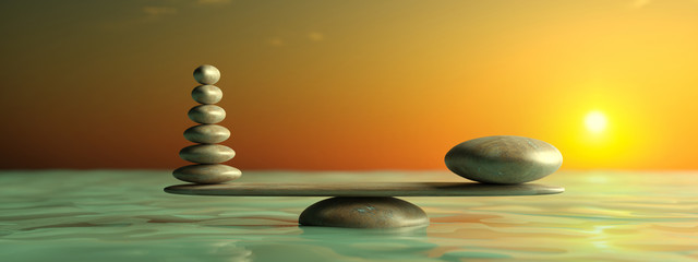 Fototapeta Kamienie Zen stones row from large to small in water with blue sky. 3d illustration