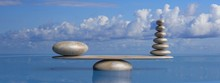 Zen Stones Row From Large To Small  In Water With Blue Sky. 3d Illustration