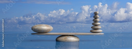 Photo Stands Zen Zen stones row from large to small in water with blue sky. 3d illustration