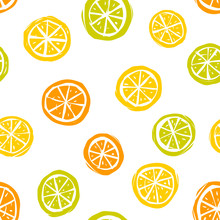 Seamless Pattern Of Lemons, Tangerines And Limes