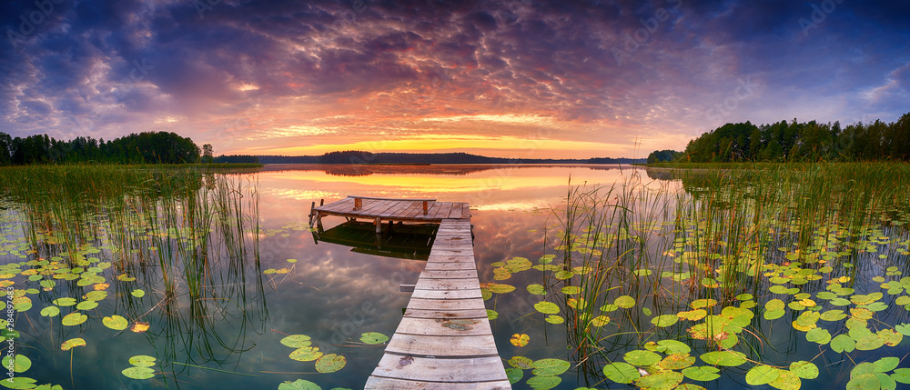 Fototapety, obrazy: Beautiful summer sunrise over lake - Panorama