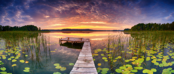 Beautiful summer sunrise over lake - Panorama