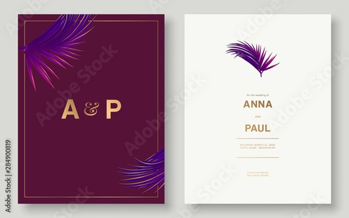 Fototapeta Minimalist Wedding Invitation Set Tropical Leaves Wedding Cards Design Tropical Leaves Invitation Vector Eps 10