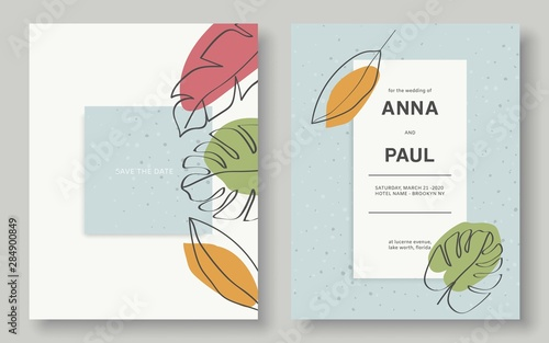 Fototapeta Minimalist Wedding Invitation Set Wedding Cards With Leaves Abstract Design Leaves Cards Vector Eps 10