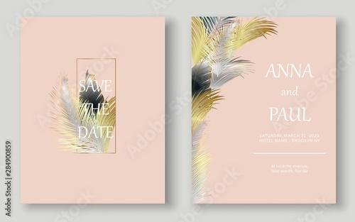 Fototapeta Minimalist Wedding Invitation Set Gold And Silver Leaves Leaves Card Design Wedding Tropical Cards Vector Eps 10