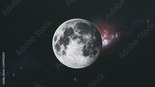 Moon Orbit Floodlight Surface Milky Way Background Wallpaper Mural