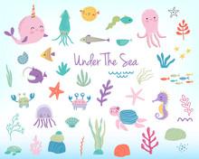 Cute Cartoon Sea Animals And P...