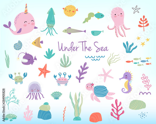Cute cartoon sea animals and plants. Vector illustration Canvas Print