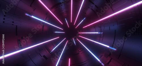 Fotografie, Obraz  Circle Neon Glowing Purple Blue Sci Fi Hi Tech Schematic Motherboard Futuristic