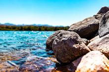 Close Up Of River Rocks At Col...