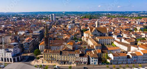 Obraz na plátně  Aerial view on the city Agen. France