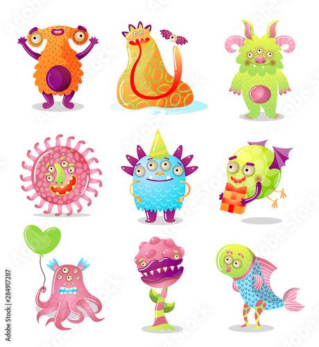 Stampa su Tela Colorful set of cartoon monsters