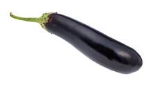 Ripe Fresh Long Dark Purple Eggplant Cutout