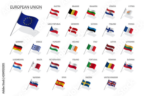 Photo Set of European Union country flags 2019, member states EU, flaming flags isolat