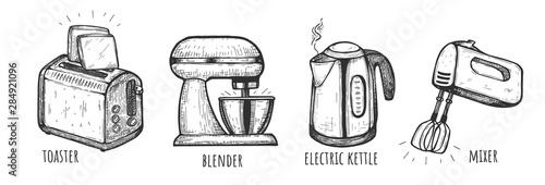 Photo Set of household appliances flat icons