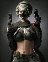 Portrait Of A Sexy Female Futuristic Sci Fi Bounty Hunter With Two Laser Pistols.Warrior Is Armored With An Exposed Mid Section , Helmet With A Reticle Locked On To The Viewer And A Cape. 3d Rendering