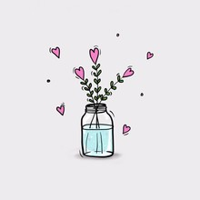 Abstract Flowers In A Vase Illustration