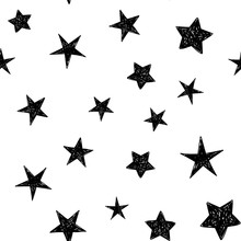 Background Of Hand Drawn Star Seamless Pattern. Doodle Stars Texture.