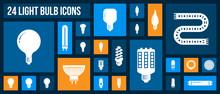Light Bulb White Silhouette Icons Vector Set