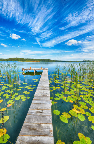 Платно Beautiful summer day on masuria lake district in Poland