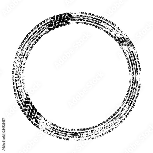Black grunge circle tire track isolated on white background Wall mural