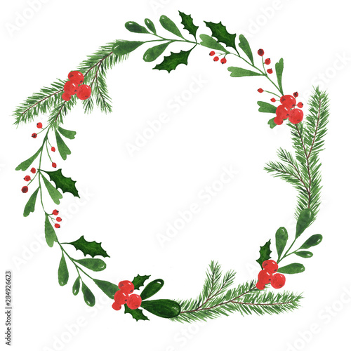 Christmas Save The Date Clipart.Hand Drawn Watercolor Illustration Round Frame Wreath With
