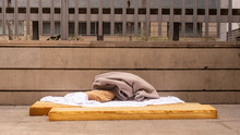 Homeless Area Bed Mattress Bed On Street Barcelona Spain Refugee