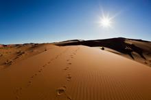 Africa, Namibia, Namib Naukluft National Park, Footprints On Sand Dunes At The Naravlei In The Namib Desert
