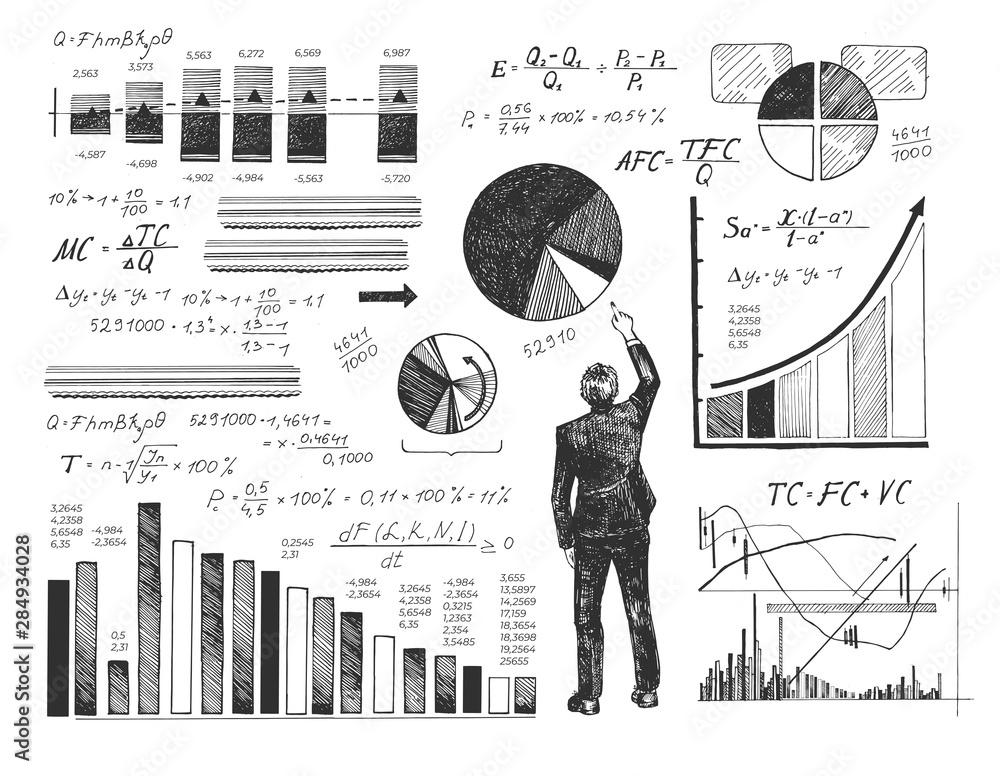 Fototapeta Businessman performing data analysis