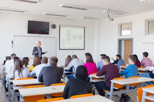 Fotomural Female attractive professor explain lesson to students and interact with them in the classroom